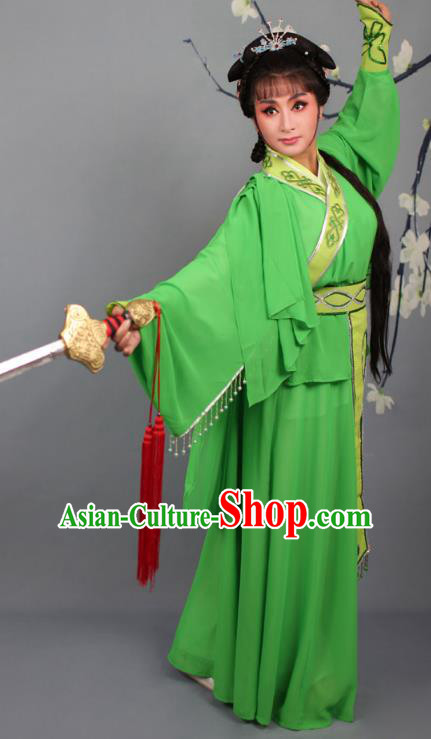 Top Grade Professional Beijing Opera Young Lady Costume Swordswoman Green Embroidered Dress, Traditional Ancient Chinese Peking Opera Maidservants Embroidery Clothing