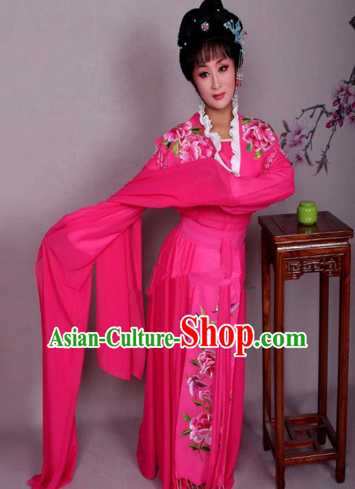 Top Grade Professional Beijing Opera Hua Tan Costume Palace Lady Rosy Embroidered Peony Dress, Traditional Ancient Chinese Peking Opera Diva Princess Embroidery Clothing