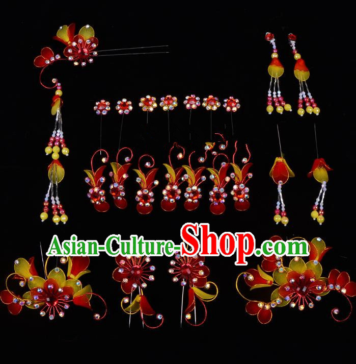 Top Grade Professional Beijing Opera Diva Red Hair Accessories Complete Set, Traditional Ancient Chinese Peking Opera Tassel Step Shake Hua Tan Hairpins Headwear