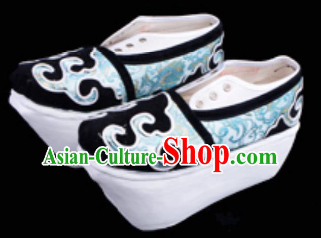 Top Grade Professional Beijing Opera Niche Green Shoes, Traditional Ancient Chinese Peking Opera Young Men Flange Shoes