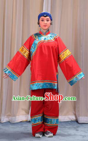 Top Grade Professional Beijing Opera Old Women Costume Pantaloon Embroidered Red Clothing, Traditional Ancient Chinese Peking Opera Matchmakers Embroidery Clothing