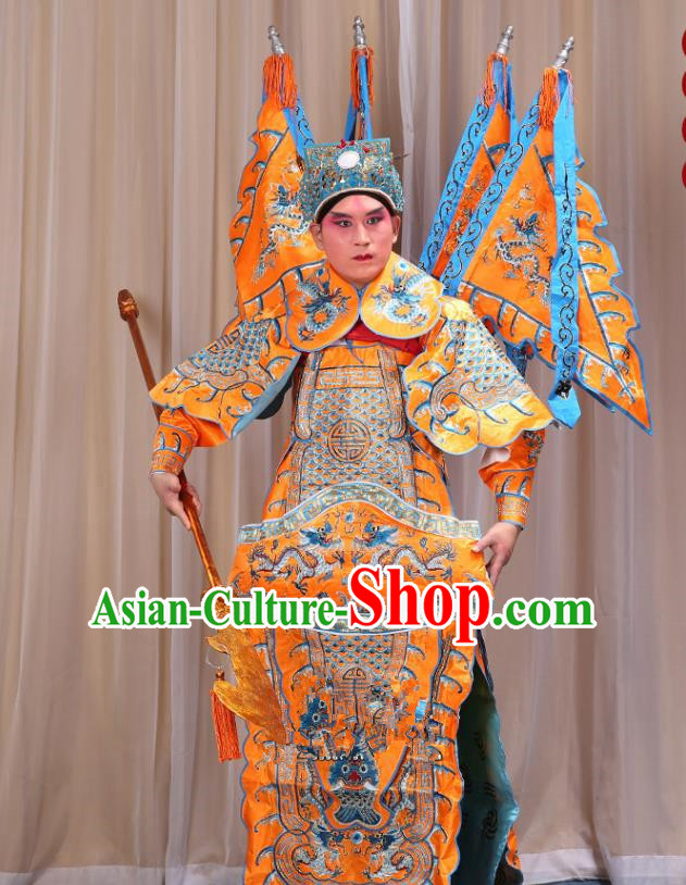 Traditional China Beijing Opera Takefu General Yellow Costume and Headwear Complete Set, Ancient Chinese Peking Opera Wu-Sheng Military Officer Clothing