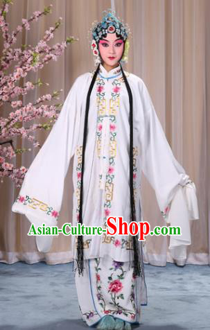 Top Grade Professional Beijing Opera Diva Costume Palace Lady White Embroidered Cape, Traditional Ancient Chinese Peking Opera Princess Embroidery Dress Clothing