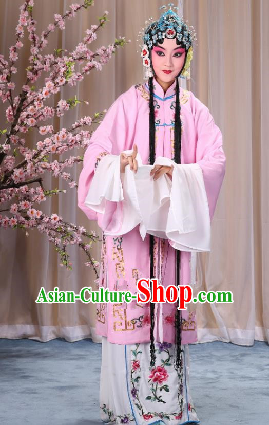 Top Grade Professional Beijing Opera Diva Costume Palace Lady Pink Embroidered Cape, Traditional Ancient Chinese Peking Opera Princess Embroidery Dress Clothing