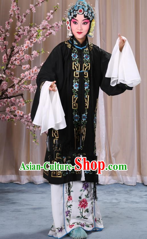 Top Grade Professional Beijing Opera Diva Costume Palace Lady Black Embroidered Cape, Traditional Ancient Chinese Peking Opera Princess Embroidery Dress Clothing