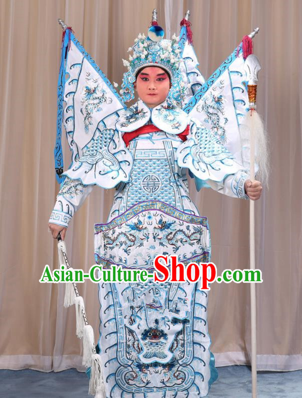 Traditional China Beijing Opera Takefu General White Costume and Headwear Complete Set, Ancient Chinese Peking Opera Wu-Sheng Military Officer Clothing