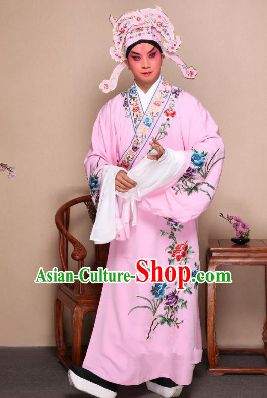 Top Grade Professional Beijing Opera Niche Costume Gifted Scholar Pink Embroidered Robe and Shoes, Traditional Ancient Chinese Peking Opera Embroidery Peony Clothing
