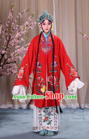 Top Grade Professional Beijing Opera Imperial Consort Costume Hua Tan Red Embroidered Cape, Traditional Ancient Chinese Peking Opera Diva Embroidery Peony Clothing