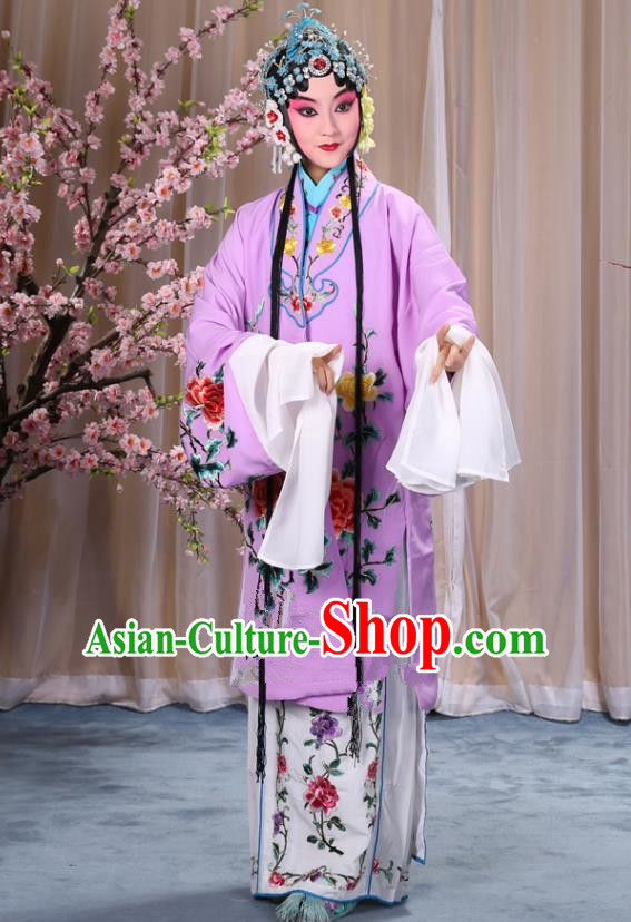 Top Grade Professional Beijing Opera Imperial Consort Costume Hua Tan Purple Embroidered Cape, Traditional Ancient Chinese Peking Opera Diva Embroidery Peony Clothing