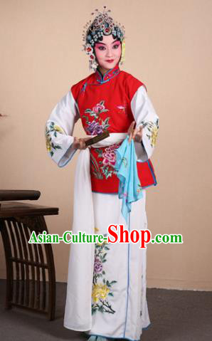 Top Grade Professional Beijing Opera Maidservants Costume Hua Tan Red Embroidered Waistcoat, Traditional Ancient Chinese Peking Opera Diva Embroidery Dress Clothing