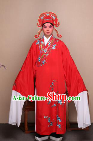 Top Grade Professional Beijing Opera Niche Costume Gifted Scholar Red Embroidered Wintersweet Robe, Traditional Ancient Chinese Peking Opera Embroidery Clothing