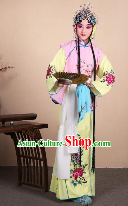 Top Grade Professional Beijing Opera Maidservants Costume Hua Tan Lilac Embroidered Waistcoat, Traditional Ancient Chinese Peking Opera Diva Embroidery Dress Clothing