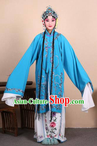 Top Grade Professional Beijing Opera Costume Hua Tan Blue Embroidered Orchid Cape, Traditional Ancient Chinese Peking Opera Diva Embroidery Dress Clothing