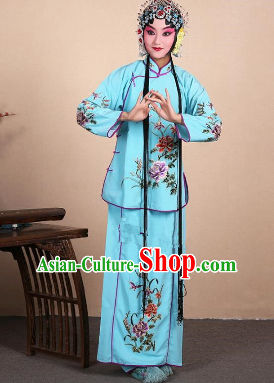 Top Grade Professional Beijing Opera Jordan-Sitting Costume Hua Tan Blue Embroidered Dress, Traditional Ancient Chinese Peking Opera Maidservants Embroidery Clothing