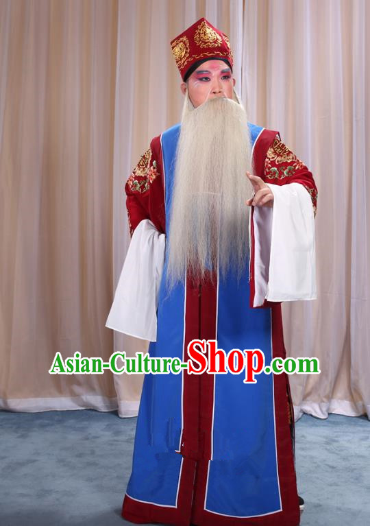 Top Grade Professional Beijing Opera Old Men Costume Long Blue Waistcoat, Traditional Ancient Chinese Peking Opera Laosheng-role Ministry Councillor Clothing