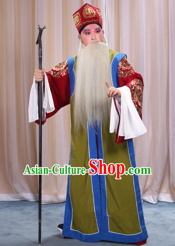 Top Grade Professional Beijing Opera Old Men Costume Long Green Waistcoat, Traditional Ancient Chinese Peking Opera Laosheng-role Ministry Councillor Clothing