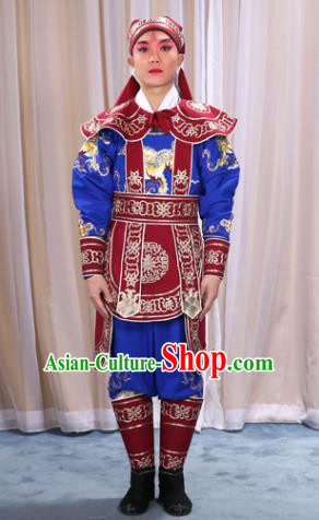 Traditional China Beijing Opera Takefu Costume and Boots, Ancient Chinese Peking Opera Wu-Sheng Warrior Embroidery Red Clothing