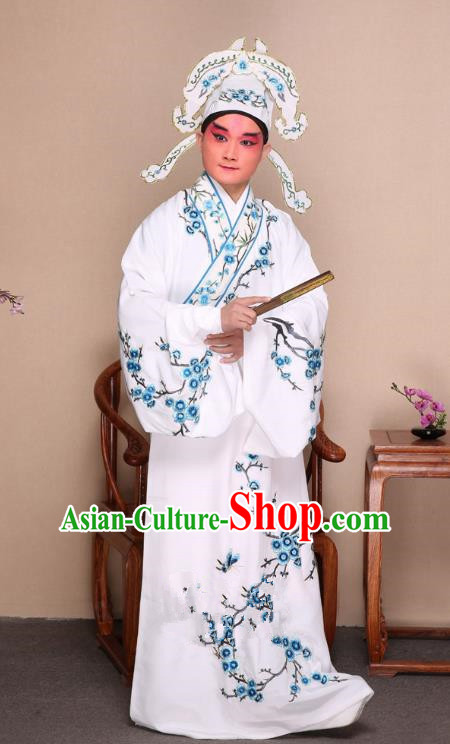 Top Grade Professional Beijing Opera Niche Costume Gifted Scholar White Embroidered Wintersweet Robe, Traditional Ancient Chinese Peking Opera Embroidery Clothing