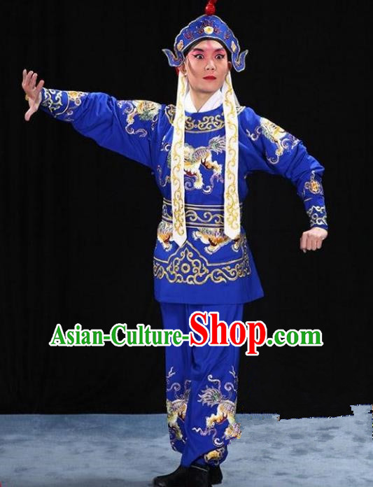 Traditional China Beijing Opera Takefu Costume and Boots, Ancient Chinese Peking Opera Wu-Sheng Warrior Embroidery Blue Clothing