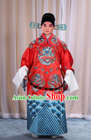 Top Grade Professional Beijing Opera Emperor Costume Red Embroidered Robe and Shoes, Traditional Ancient Chinese Peking Opera Royal Highness Gwanbok Clothing