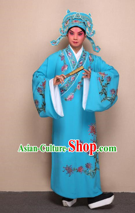 Top Grade Professional Beijing Opera Niche Costume Gifted Scholar Blue Embroidered Chrysanthemum Robe, Traditional Ancient Chinese Peking Opera Embroidery Clothing
