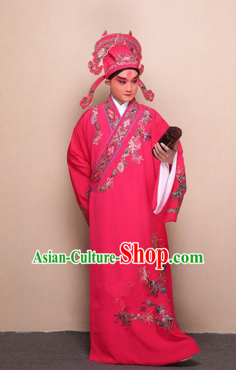 Top Grade Professional Beijing Opera Niche Costume Gifted Scholar Peach Pink Embroidered Chrysanthemum Robe, Traditional Ancient Chinese Peking Opera Embroidery Clothing