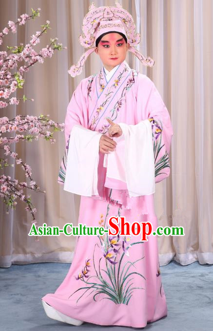 China Beijing Opera Niche Costume Young Men Pink Embroidered Robe and Shoes, Traditional Ancient Chinese Peking Opera Scholar Embroidery Orchid Gwanbok Clothing