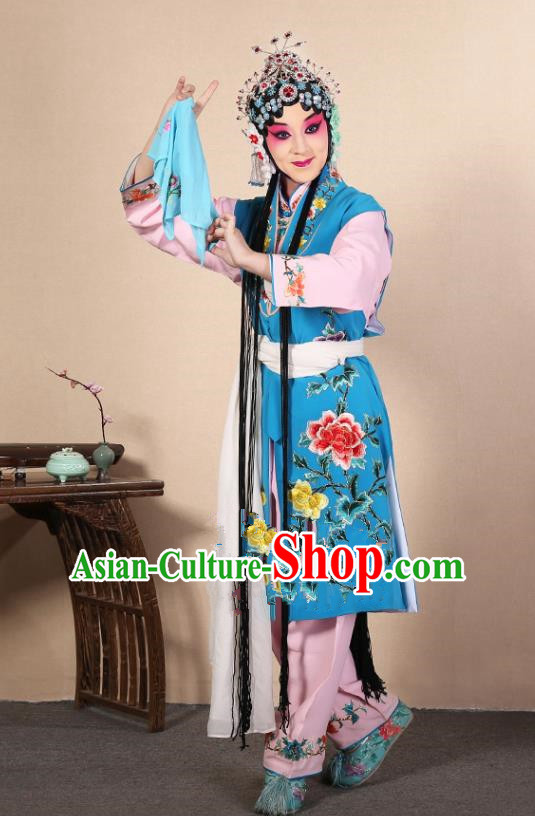 Top Grade Professional Beijing Opera Diva Costume Young Lady Deep Blue Embroidered Waistcoat, Traditional Ancient Chinese Peking Opera Princess Embroidery Dress Clothing