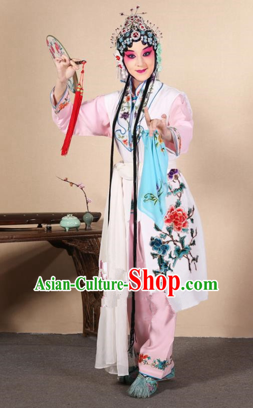 Top Grade Professional Beijing Opera Diva Costume Young Lady White Embroidered Waistcoat, Traditional Ancient Chinese Peking Opera Princess Embroidery Dress Clothing
