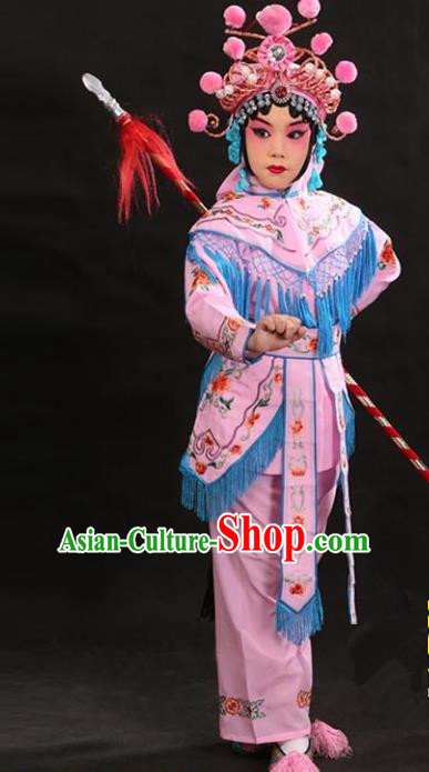 Traditional China Beijing Opera Female General Pink Costume and Headwear Complete Set, Ancient Chinese Peking Opera Swordplay Embroidery Clothing for Kids