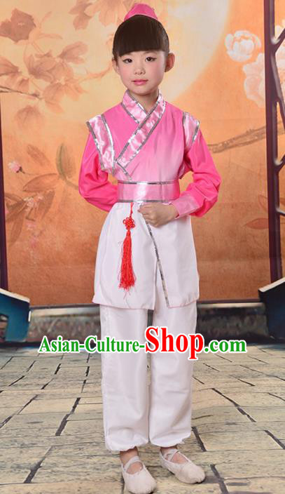 Traditional Chinese Classical Gukhak Costume, China Ancient Folk Dance Scholar Rosy Clothing for Kids