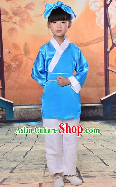 Traditional Chinese Classical Gukhak Costume, China Ancient Folk Dance Scholar Blue Clothing for Kids