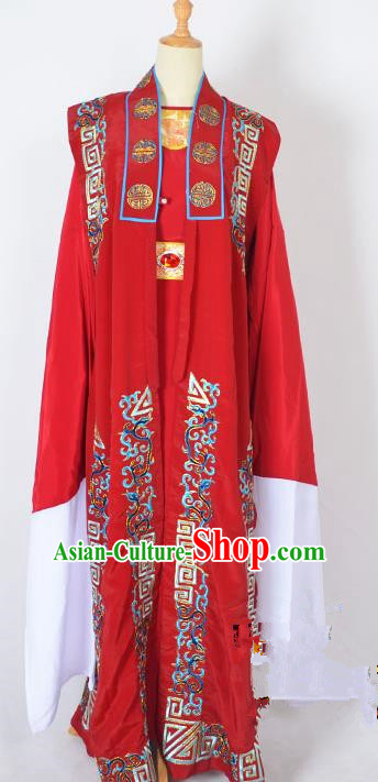 Traditional Chinese Professional Peking Opera Old Men Costume, China Beijing Opera Milord Ministry Councillor Embroidery Red Long Robe Clothing