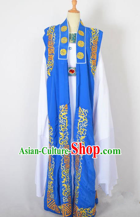 Traditional Chinese Professional Peking Opera Old Men Costume, China Beijing Opera Milord Ministry Councillor Embroidery Blue Mantel Long Robe Clothing