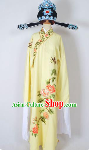 Traditional Chinese Professional Peking Opera Young Men Share-Win Costume and Hat Complete Set, China Beijing Opera Lang Scholar Embroidery Peony Yellow Long Robe Clothing