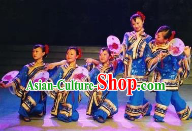 Traditional Chinese Classical Dance Yangge Fan Dance Costume, Folk Dance Drum Dance Uniform Yangko Blue Costume Complete Set for Women