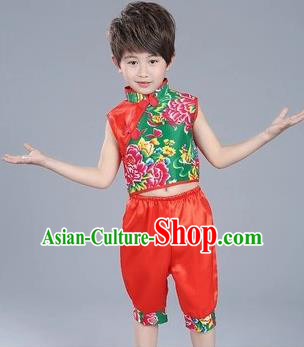 Traditional Chinese Classical Dance Yangge Fan Dance Costume, Children Folk Dance Drum Dance Uniform Yangko Red Clothing for Boys