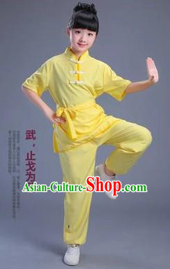 Traditional Chinese Classical Dance Martial Arts Costume, Children Folk Dance Drum Dance Uniform Kung Fu Yellow Clothing for Kids