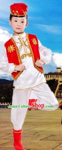 Traditional Chinese Uyghur Nationality Dance Costume, Children Folk Dance Ethnic Costume, Chinese Minority Nationality Uigurian Dance Clothing for Boys