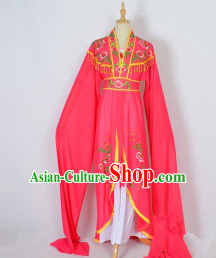 Traditional Chinese Professional Peking Opera Embroidery Plum Blossom Costume, China Beijing Opera Female Diva Cloud Shoulder Clothing Rosy Long Robe