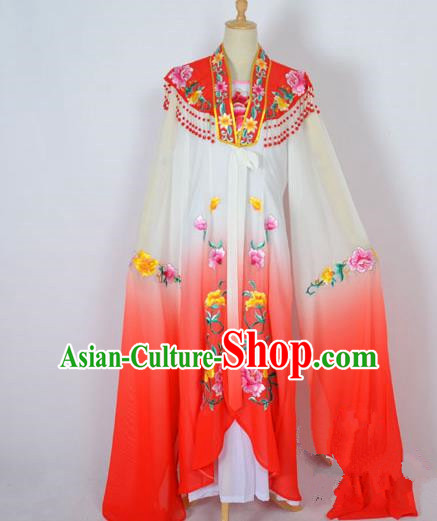 Traditional Chinese Professional Peking Opera Shaoxing Opera Costume Embroidery Red Cloud Shoulder Mantel, China Beijing Opera Female Diva Clothing Long Water Sleeve Shawl Dress