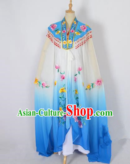 Traditional Chinese Professional Peking Opera Shaoxing Opera Costume Embroidery Blue Cloud Shoulder Mantel, China Beijing Opera Female Diva Clothing Long Water Sleeve Shawl Dress
