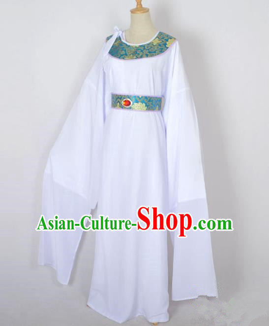 Traditional Chinese Professional Peking Opera Shaoxing Opera Old Men Costume, China Beijing Opera Ministry Councillor Clothing White Long Robe and Belt Complete Set