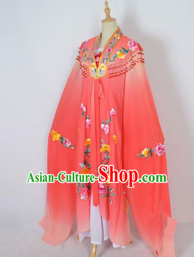 Traditional Chinese Professional Peking Opera Shaoxing Opera Costume Embroidery Watermelon Red Cloud Shoulder Mantel, China Beijing Opera Female Diva Clothing Long Water Sleeve Shawl Dress