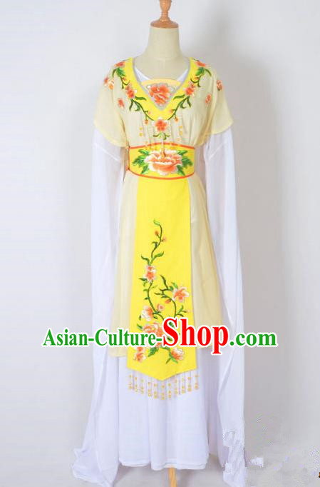 Traditional Chinese Professional Peking Opera Nobility Lady Water Sleeve Costume, China Beijing Opera Shaoxing Opera Royal Princess Embroidery Peony Yellow Dress Clothing