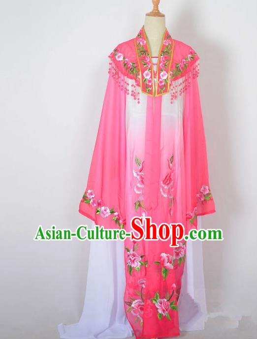 Traditional Chinese Professional Peking Opera Nobility Lady Water Sleeve Costume Embroidery Rosy Shawl, China Beijing Opera Shaoxing Opera Royal Princess Dress Clothing