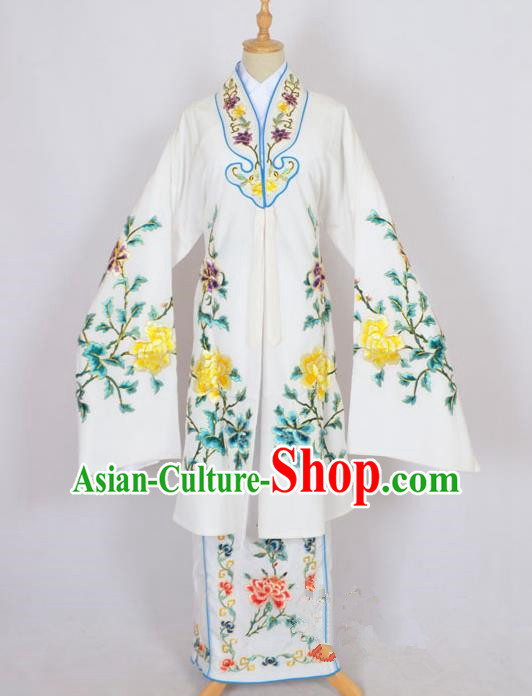 Traditional Chinese Professional Peking Opera Nobility Lady Costume White Mantel, China Beijing Opera Shaoxing Opera Embroidery Diva Hua Tan Dress Clothing