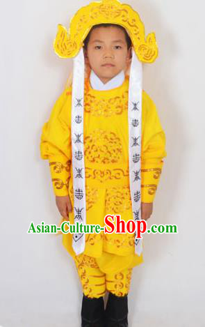 Traditional Chinese Professional Peking Opera Takefu Costume and Headwear, China Beijing Opera Shaoxing Opera Children Niche Warrior Yellow Clothing