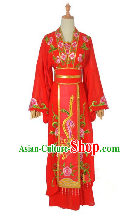 Traditional Chinese Professional Peking Opera Imperial Concubine Costume, China Beijing Opera Princess Embroidery Phoenix Wedding Dress Clothing