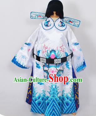 Traditional Chinese Professional Peking Opera Old Men Costume White Embroidered Robe and Hat, China Beijing Opera Prime Minister Embroidery Robe Gwanbok Clothing